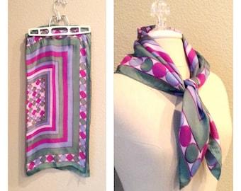 Vintage 60s pink polka dot scarf / edie beale / retro / mod / psychedelic