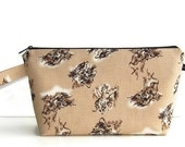 Wedge Bag, Shawl Project Size Knitting Bag, Imported Japanese fabric, tigers on beige