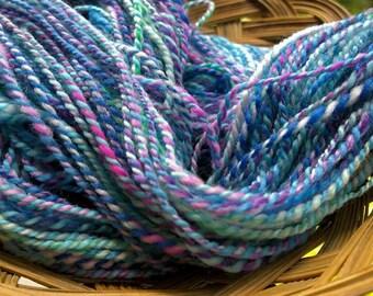 Blue Fluoroescence, handspun wool yarn, 2 oz/56 g, 128 yds/117 m