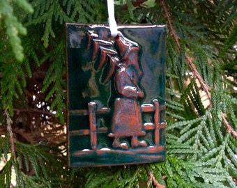 Father Christmas Tile Ornament in Green