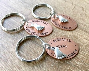 Neonatal Nurse Practitioner Keychain, neonatal keychain, infant nurse, neonatal nurse gift, NICU, personalize with optional initial disc