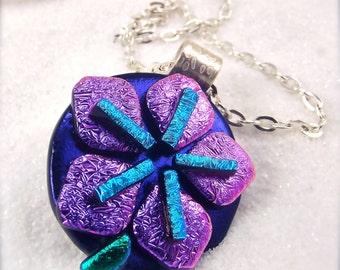 Sakura blossom Jewelry, dichroic glass pendant,cherry blossom, Hana Sakura, sakura flower jewelry, dichroic jewelry, statement jewelry,