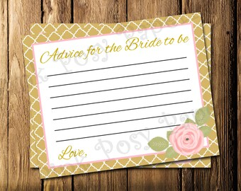 Printable Pink and Gold Bridal Shower Advice Cards - Instant Download