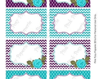 Printable Turquoise and Purple Bridal Shower Food Labels - Instant Download