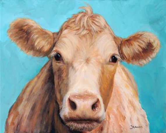 Guernsey Cow Art Farm Animal Print 2016 Face on Turquoise
