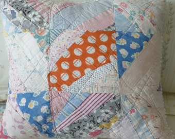 Upcycled quilt, upcycled chenille, cutter quilt pillow, white popcorn chenille, patchwork pillow, cottage chic, porch pillow