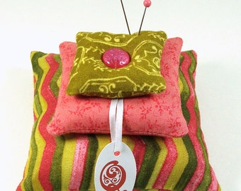 Pickled Watermelon Rind - Large Square Stacked and Weighted Pincushion