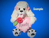White Poodle Dog Mom Heart Rose Sculpture OOAK Clay art by Sally's Bits of Clay
