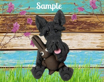 Scotty Scottie Scottish Terrier Easter dog with Chocolate Bunny OOAK Clay art sculpture by Sallys Bits of Clay