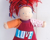 COURTNEYCOURTNEY red love valentines lettering typography bamboletta waldorf doll clothing