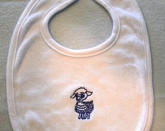 BIB Baby Blue Lamb Embroidered Baby Bib Newborn Bibs - Ready to Ship
