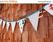 HALF PRICE Clearance Sale Fabric Flag Bunting Banner, 7 Large Flags. Birthday Party Decor, Photo Prop, Wedding Decoration.