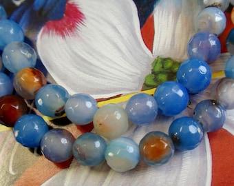 Large Hole Faceted  Blue/Tan Orange Agate Gemstone Bead Strand