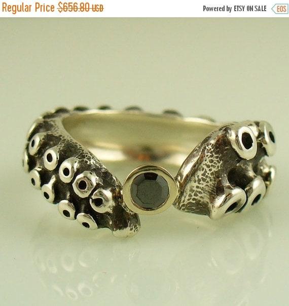 SALE SALE Black Diamond Engagement Ring by OctopusME by OctopusMe