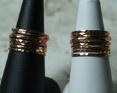Hand hammered rose gold tone midi ring, knuckle ring, stack rings, 2 pcs (item ID SRRG)