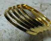 Gold plated stack bangle bracelet blank medium size, one piece (item ID FA01323GP)