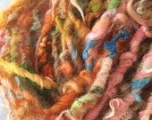 Flying Mango 2 art yarn 14 yards mohair wool yarn colorful curly textured colorful girlwithasword dreads orange circus bright wi