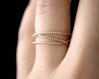 14K Gold Fill Twist Wraparound ring, gold fill wrap ring, wrapped gold ring, gold stack ring, gold wrap around ring, gold infinity ring