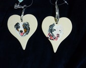 Pet Portrait Ceramic Heart Memorial Christmas Ornament Hand Painted and Made to Order by Shannon Ivins