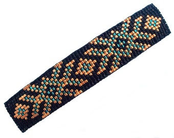 Geometric Tribal Beaded Barrette Black Gold and Blue Loom Beading with Authentic French Clip Hair Barrette