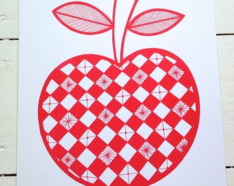 New screen scandi red apple print by Jane Foster  - hand printed signed