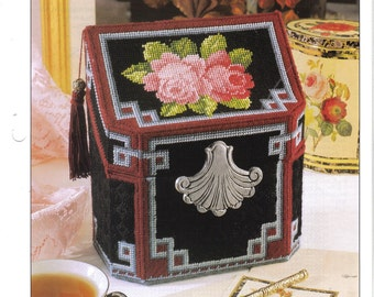 Rose Treasure Box ~ plastic canvas pattern
