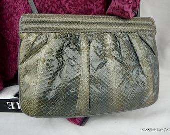 Vintage Small 80s SNAKESKIN Shoulder Bag or Clutch Purse ..Steel GREY Leather Handbag.. Cross Body Reptile ..Hong Kong 1980s