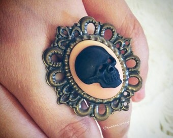 BLACK SKULL Pink Cameo Gothic Lolita Ring, clearance sale