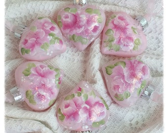 Puffy Pink HEART Christmas Ornaments Shabby Chic Hand Painted PINK Roses ecs sct schteam SVHTeam