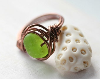 Lime Genuine Sea Glass Ring-Gift for her-Wire Wrapped-LIME green-Beach glass jewelry-Copper-genuine sea glass jewelry