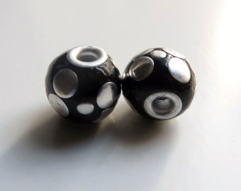 13mm Round Black Polka Dot Beads, Lightweight Beads - Matching Pair