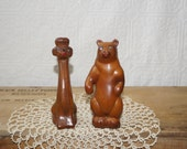 vintage mid century Hong Kong plastic animal figurines poodle and bear rhinestone eyes