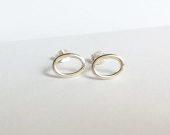Minimalist Sterling Silver Oval Stud Earrings