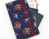 Travel Wallet, passport holder, family travel wallet, travel organizer, passport wallet, document holder - Flower Bunch on Navy