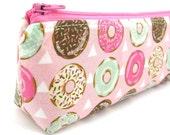 Pink Donut Pencil Case - Pencil Pouch - Zip Pouch - Small Bag - Zipper Pouch - Planner Pencil Case Organiser
