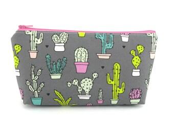 Cactus on Grey Cosmetic Bag, Zip Pouch, Makeup Bag, Pencil Case, Zipper Bag