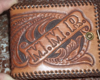Vintage Leather Tooled Wallet