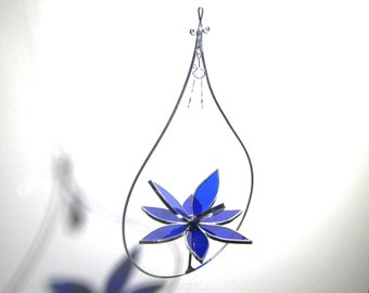 Splendid - 3D Stained Glass Lotus Spinner - Small Blue Spinning Flower Suncatcher Ornament Home Decor Wire Frame (READY TO SHIP)