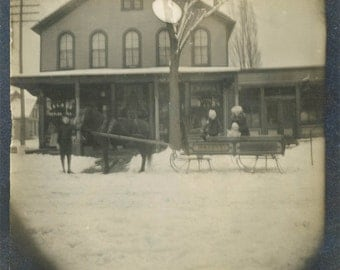 vintage photo 1907 Horse Drawn Sleigh W.J Trost by Storefront