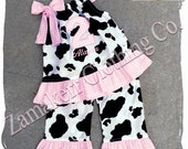 Custom Boutique Clothing Birthday Baby Girl Barn Farm Cow Outfit Top Pant Set Pink Gingham 1st 2nd 3 6 9 12 18 24 Month Size 2T 3T 4T 5T 6 7