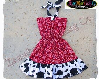 Girl Cow Bandana Dress - Custom Boutique Clothing - Girl Cow N Bandana Ruffle Dress 3 6 9 12 18 24 month size 2T 2 3T 3 4T 4 5T 5 6 7 8