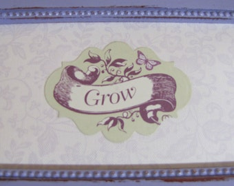 Upcycled Jewelry Box Lilac Grow Phrase Shabby Chic Cottage Style on sale