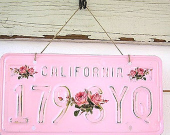Pink Vintage California License Plate (Rose Spray Design)