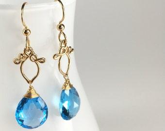 Swiss Blue Topaz Statement Earrings || Swiss Blue Topaz and Gold Dangles || Swiss Blue Topaz and Gold Filled Bold Earrings