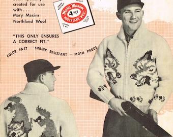 Vintage Mary Maxim 449 - Wolf men's cardigan graph knitting pattern - sizes 38-40-42-44 inch chest - PDF pattern