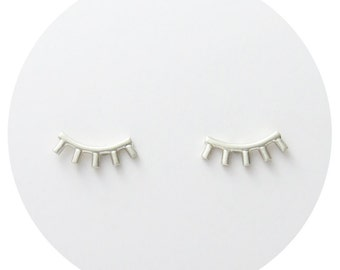 Eyelash Studs | Lash Stud Earrings in Solid Sterling Silver, 9ct Yellow Gold or 9ct Rose Gold Handcrafted by Ginny Reynders