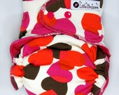 AI2 Cloth Diaper Made to Order - Falling Hearts - You Pick Size Style - Red Pink Valentine AI2 Nappy - Waterproof Reusable Love Diaper