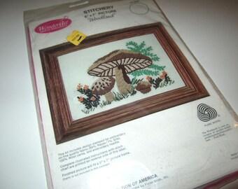 Mushroom Crewel Needlepoint Kit - Vintage 1970s - New Old Stock in Package - By Wonderart Creative Needlecrafts