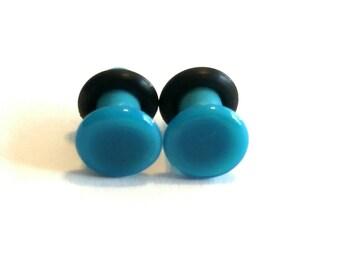 6g Turquoise Blue glass ear plugs body jewelry 4mm handmade new 6 gauge