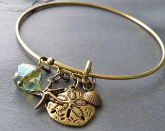 DIY At The Beach Bangle Charm Bracelet Kit : Antique Brass Expandable Bracelet Do It Yourself